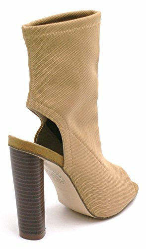 Fashion Fitted Ankle Boots Taupe Stretch Toe Lycra Shoes Ladies Peep Womens Heel A8 High Block qtF7zxv6w
