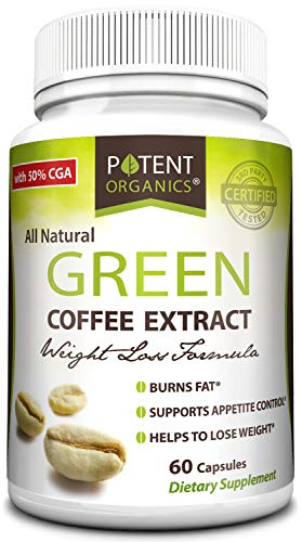 Potent Organics 100% Pure Green Coffee Bean Extract: Standardized to 50% Chlorogenic Acid - Green Coffee Beans - 800mg, 60 Capsules (1 per Serving) - Organic Green Bean Coffee Extract