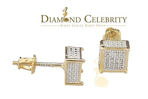 10K Yellow Gold Finish Real Diamond 0.10CT Silver Men's and Women's Studd Earring