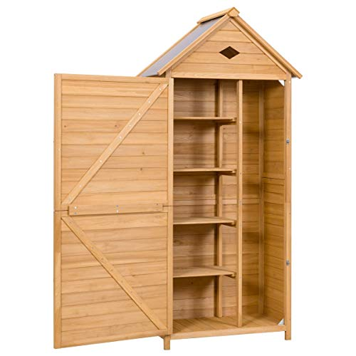 Goplus Outdoor Storage Shed Locker Wooden Hutch for Garden Yard Lawn