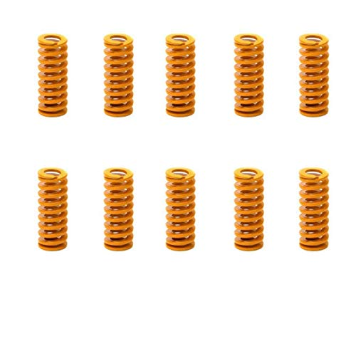 (Marketty 3D Printer Die Spring 8mm OD 20mm Long Light Load Compression Mould Die Spring Yellow 10pcs,Actually Work Perfectly for The Ender 3s Bed)
