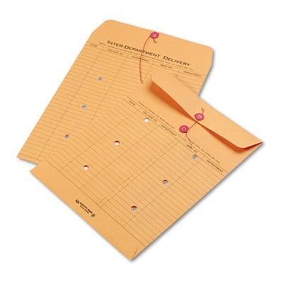 Quality Park 63560 Brown Recycled Kraft String & Button Interoffice Envelope, 10 x 13, 100/Carton ()
