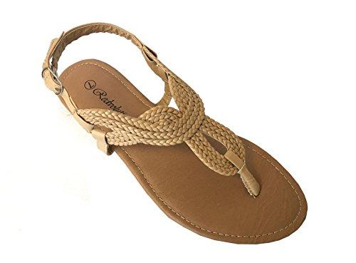 Redvolution Women's Braided Gladiator Sandal New T-Strap Thong Flat Sandal | 8016 (9, Nude) by Redvolution (Image #1)