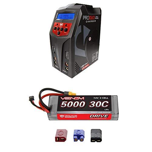 (Venom Sport Power 30C 2S 5000mAh 7.4 LiPo Battery Roar Approved with UNI Plug and Venom Pro Duo 80W X2 Dual AC/DC 7A LiPo & NiMH RC Battery Balance Charger Money Saving Combo)