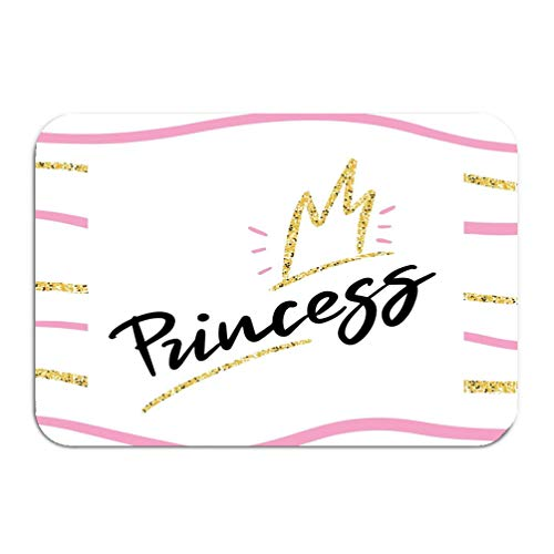 Outside Shoe Non-Slip Color Dot Doormat Princess Background Glitter Crown Girlish Style Modern Apparel Print Design Mats Entrance Rugs Carpet 16 24 inch