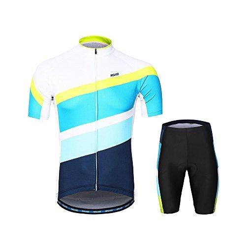 民族主義大佐寂しいLixada ARSUXEOメンズサイクリングウェアセット半袖セット速乾性シャツ3dクッションパッド入りショートパンツ