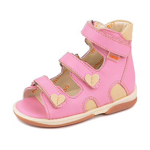 Memo Atena 3JB Girl's Pink High-Top Ankle Support Orthopedic Leather Sandal, 24 (8T) by Memo