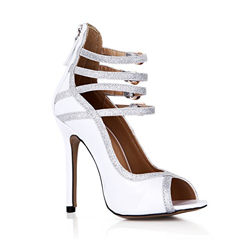 DolphinGirl Women Fashion White Glitter Silver Peep Toe 12CM High Heels Dress Pumps Stiletto Shoes SM00110 White EiKb8F
