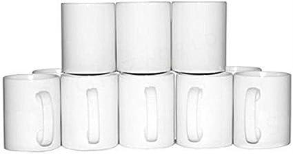 Signzworld 11 oz tazas de mango con revestimiento de en blanco, tamaño grande (Pack de 36), color blanco: Amazon.es: Oficina y papelería
