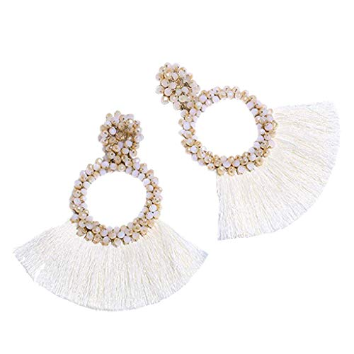 (Jocund Women Hoop Tassel Earrings for Ladies Statement Handmade Beaded Fringe Dangle Earrings)