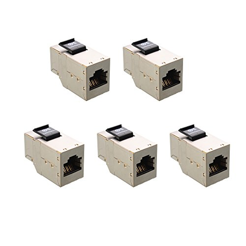 [UL Listed] Cable Matters (5 Pack) RJ45 Shielded Cat6 Keystone Jack In-Line Couplers in Silver