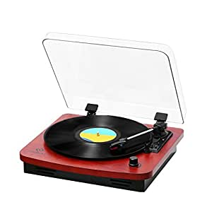 JORLAI Belt-Drive 3-Speed Turntable Vintage Style Record Player with Built-in Stereo Speakers, Vinyl-To-MP3 Recording, Aux Input, RCA Output, Natural Wood