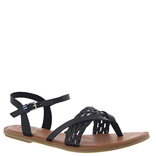 TOMS Women's Lexie Sandal Black Leather/Braid 11