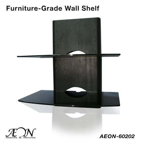 Component Shelf Mount with wood grain and two large glass shelves AEON-60202 (Wood Component)