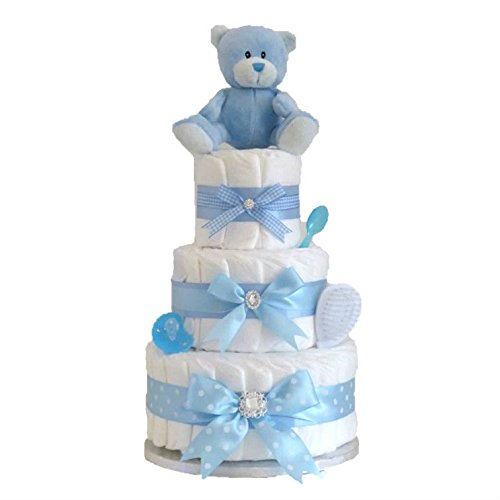 Signature LARGE DELUXE 3 Three Tier Baby Boy Nappy Cake Blue Newborn Nappies Cakes for Boys and Accessories | Hamper Nappie Shower Gifts New Born Arrival Personalised Hampers Gifts Mum | FAST DISPATCH Pitter Patter Baby Gifts