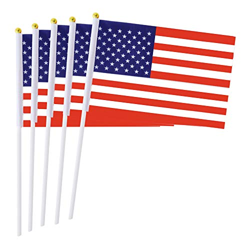 Small Flag American (Consummate 50 Pack USA American Stick Flag,Small Mini Hand Held American US Flags Plastic Pole,Decorations Parades,4th July, Veterans Day (8.2