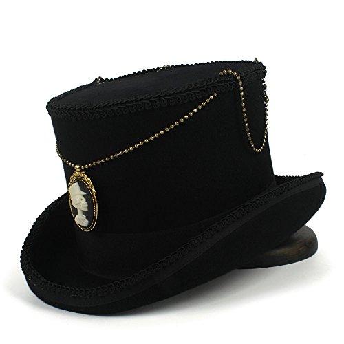 GERUIQI Vogue Hipste Top 15CM Black Fedora Hat Wool Women Men Steampunk Top Hat Gentleman Hat Magic Hat Equestrian Hat
