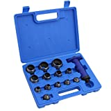 XtremepowerUS 14Pc Sharp Hollow Punch Tool Kit 13 Sizes Pin Point Leather Copper Gasket Holes