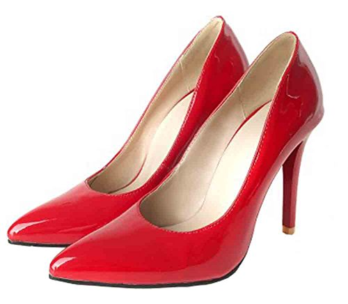 Scarpe Basse Easemax Da Donna Eleganti Scarpe A Punta Tacco Basso A Stiletto Con Tacco Alto Rosse