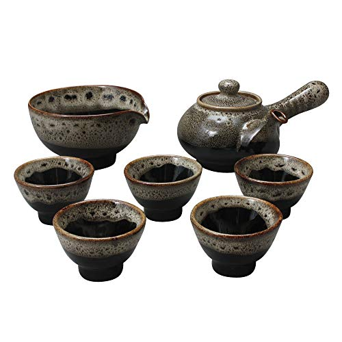 Korean Style Porcelain Tea Ceremony Complete Service Gift Set Ceramic Pottery 11.8 oz (350ml) Side Handle Tea Pot Cups Teapot Pitcher Bowl for Cooling Hot Water ()