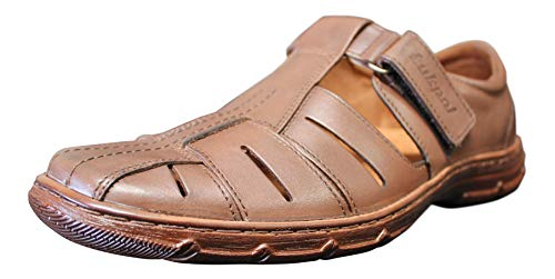 Lukpol Mens Orthopedic Form Buffalo Leather Sandals Model-1062 Chocolate