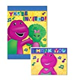 BARNEY BABY BOP Party x16 Invitations Thank you