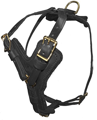 Dogline Viper Invader Multi-Function Leather Dog Pet Harness, 32'' to 40'', Black by Viper
