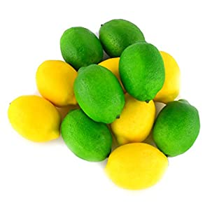 JEDFORE Fake Fruit Lemon Simulation Artificial Lifelike Lemon for Home House Kitchen Wedding Party Decoration Photography 12pcs Set (Yellow & Green) 60