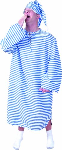 Alexanders Costumes Night Shirt with Cap, Blue/White, Large Scrooge Costume Halloween