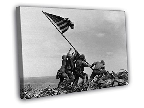 (FB Raising The Flag on Iwo Jima US Army Troops Soldiers Art Decor Framed Canvas Print 40x30 cm (16x12 inches))