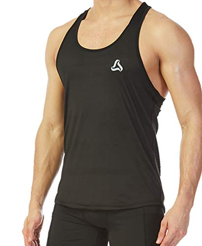 SILKWORLD Men's Mesh Y-Back Muscle Sleeveless Workout Tank Top, Black, Large