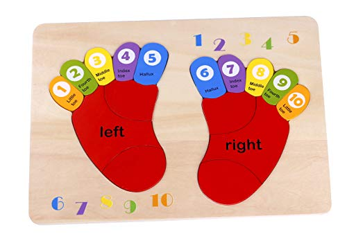 - Toysters Wooden Chunky Foot Puzzle for Toddlers   16-Piece Counting Numbers, Math Puzzle Game   Preschool Educational Toy Helps Improve Fine Motor Skills   Suitable for Boys and Girls Ages 2, 3 and 4