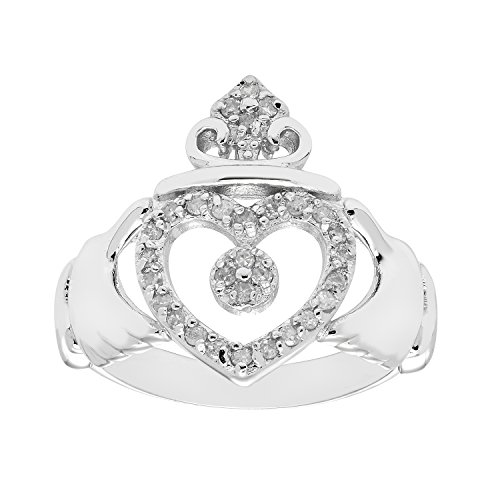 JewelExclusive Sterling Silver 1/4cttw Natural Round-Cut Diamond (I-J Color, I2-I3 Clarity) Claddagh Ring - Size 06