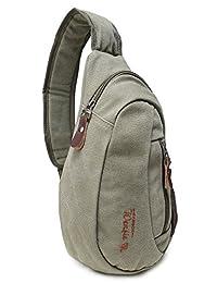 Casual Canvas Backpack Crossbody Sling Bag Shoulder Bag Chest Bag For Men