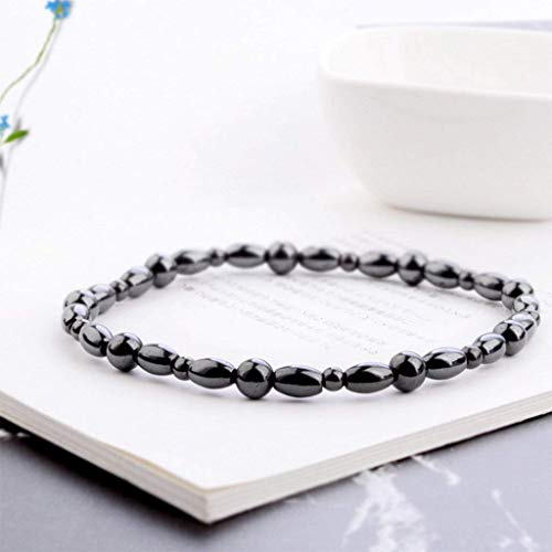 Women Men Magnetic Anklet Hematite Stone Ankle Bracelet, Health Care Black Therapy Jewelry (1PC) by Lottoy (Image #4)