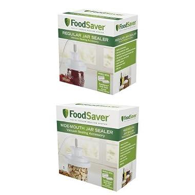FoodSaver T03-0006-02P Regular-Mouth Jar Sealer and Wide-Mouth Jar Sealer Bundle