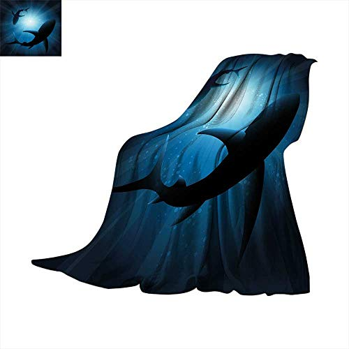 - Betterull Shark Warm Microfiber All Season Blanket Silhouette of The Fishes Swimming at Twilight Night Moon Mystic Magical Sea Scenery Summer Quilt Comforter 70