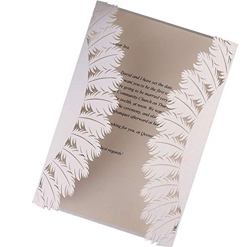 50Pcs Invitation Cards Laser Cut White Chic Hollow Leaves Folding Invitations Letter for Wedding Bridal Shower Birthday Graduation Bachelorette Party Includes Covers, Blank Insert, Envelopes