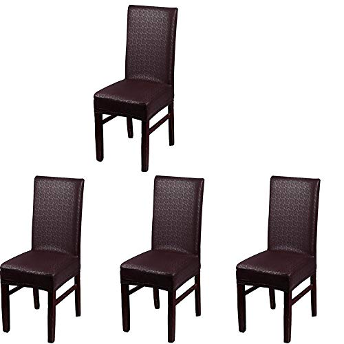 (iEventStar PU Faux Leather Stretch Dining Chair Cover Chair Protector Slipcover (Brown Lace Pattern, 4))