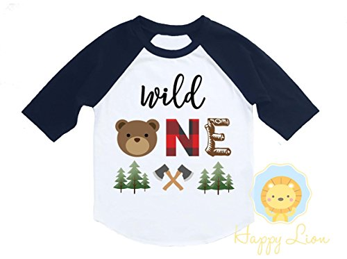 Happy Lion Clothing - Wild One Birthday Boy Shirt - Lumberjack Buffalo Plaid Bear First Birthday Raglan Woodland Forest by Happy Lion Clothing