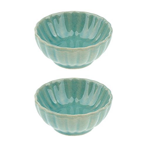 (D DOLITY Pack of 2 Ceramic Aroma Diffuser Essential Oil Bowl Aromatherapy Empty Container Decoration for Spa Salon - Pink/Green/Blue - Blue)