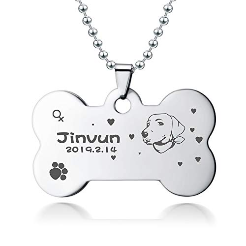 Dog Tags for Dogs Engraved   Stainless Steel Pet Id Tags, Personalized Dog Tags   [ New Version ] [ Dog Head Portrait ] (Small, Silver)