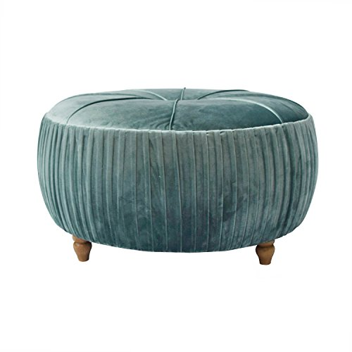 - New Pacific Direct 1600007-185 Helena Velvet Round Ottoman Ottomans & Cubes, Emerald