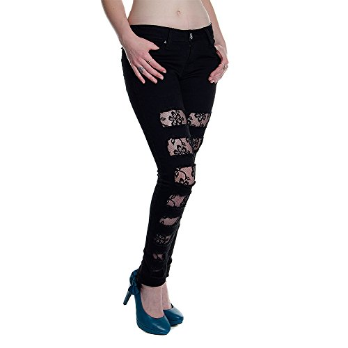 Pantalones pitillo de mujer de Criminal Damage modelo Ripped Rose Lace (Negro) Negro