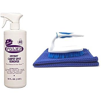 Folex Instant Carpet Spot Remover, 32oz Bundle with Scrub Brush and Microfiber Towel