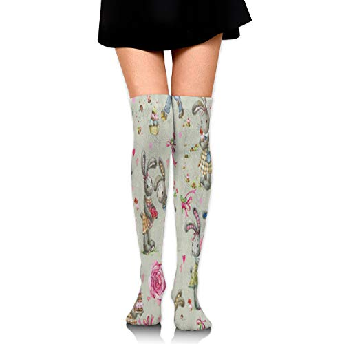 (Women Stockings Thigh High Cute Bunny Heart Floral Easter Cool Easter)