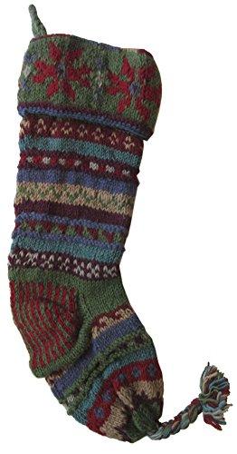 Handknit Wool Christmas Stockings (Country Green Stripe) ()