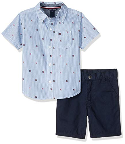 Tommy Hilfiger Boys' Toddler 2 Pieces Shirt Shorts Set, Blue/Print, 3T (Hilfiger Kids)