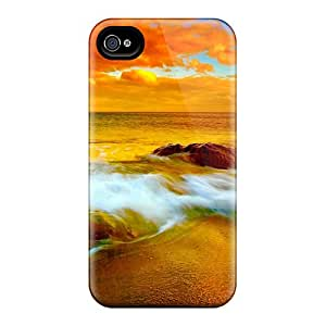 New Premium ChriDD Outsting Orange Beach Scape Skin Case Cover Excellent Fitted For Iphone 4/4s