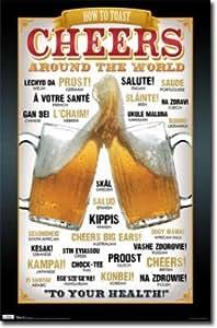 Beer Cheers Around the World Art Poster Print - 22x34 Poster Print, 22x34 Poster Print, 22x34